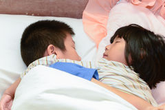Closed up Sleeping children, hug together. Stock Photo