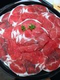 Closed up the sliced beef , shabu set Royalty Free Stock Photos