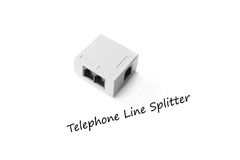 Closed up telephone line splitter on white background Stock Photography