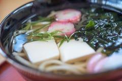 Closed up tempura shrimp udon, japanese food. The tempura shrimp udon, japanese food royalty free stock images
