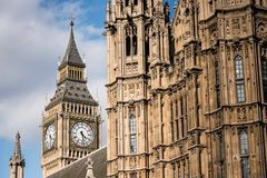 The closed up view of Big Ben. Big Ben, the Great Bell of the clock at the north end of the Palace of Westminster in London, UK Royalty Free Stock Photography