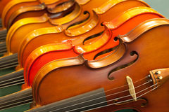 Closed up violins Stock Photos