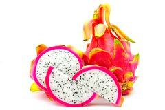 Closed up Vivid and Vibrant Dragon Fruit against for sale in a local food market. dragon fruits  isolated against white background. Thai food Stock Images