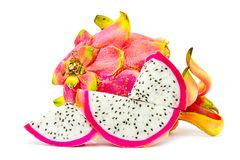 Closed up Vivid and Vibrant Dragon Fruit against for sale in a local food market. dragon fruits  isolated against white background. Thai food Stock Photo
