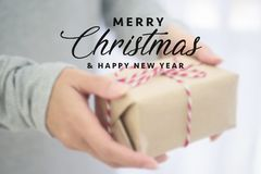 Closed up of woman hands with gift box.  Stock Photo