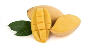 Closed up yellow mango isolated on withe background Royalty Free Stock Images