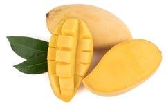 Closed up yellow mango isolated on withe background Royalty Free Stock Photo