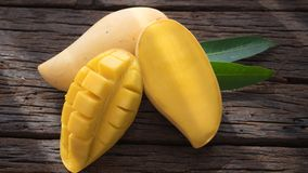 Closed up yellow mango isolated on withe blackground Royalty Free Stock Photography