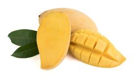 Closed up yellow mango isolated on withe blackground Stock Photos