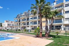 Closed urbanization with swimming pool in Torrevieja, Spain royalty free stock image