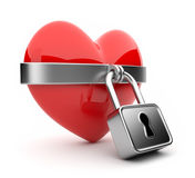 Closed valentine heart and lock 3D. Isolated Royalty Free Stock Photo