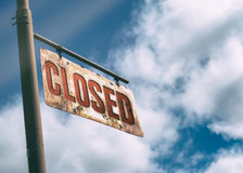 Closed Vintage Rusted Sign. Royalty Free Stock Photography