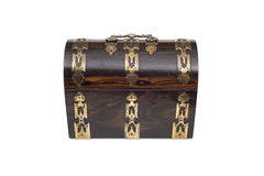 A Closed Vintage Wooden Chest-Type Jewlery Box in Front View Stock Photos