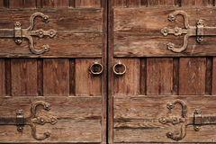 Closed vintage wooden door stock images