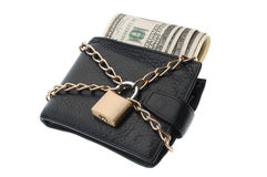 Closed wallet with dollars Royalty Free Stock Photography
