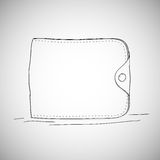 Closed wallet, hand drawn, sketch style on white Stock Photo