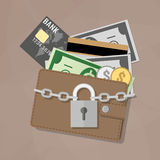 Closed wallet and locked pad lock Royalty Free Stock Image
