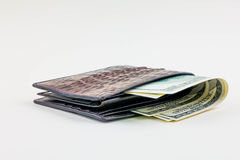 Closed wallet with money Royalty Free Stock Photo