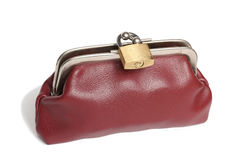 Closed wallet the padlock. Royalty Free Stock Photography