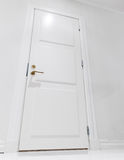 Closed white domestic door. Empty interior Stock Photo
