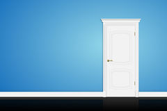Closed white door on blue wall. Vector Stock Photography