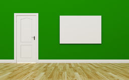 Closed White Door on Green Wall , One blank poster , Wood Floor Royalty Free Stock Images