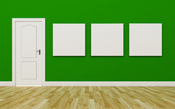 Closed White Door on Green Wall , three blank poster , Wood Floo Royalty Free Stock Image