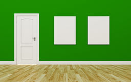 Closed White Door on Green Wall , two blank poster , Wood Floor Royalty Free Stock Photo