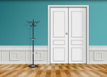 Closed white door with lantern and wooden parquet floor. Illustration of Closed white door with lantern and wooden parquet floor isolated on blue wall Royalty Free Stock Images