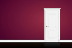 Closed white door on purple wall background. Vector Stock Photography
