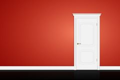 Closed white door on red wall. Vector Stock Image