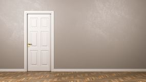 Closed White Door in the Room with Copyspace. Single Closed White Door in the Room with Copyspace 3D Illustration Royalty Free Stock Photos