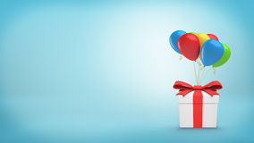 A closed white gift box with a red ribbon tied to several colorful balloons. Stock Photos