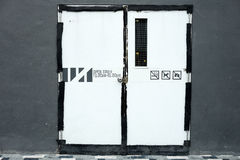 Closed white old restaurant door Royalty Free Stock Image