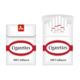 Closed white pack of cigarettes. Open pack of cigarettes. Cigarettes pack icon. Cigarettes pack  illustration Stock Image
