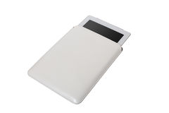Closed white tablet case on white background Royalty Free Stock Photo