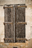 Closed window. Old window closed in Soreze village in France stock images