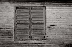 Closed window. Building with closed shutter against  wall,Argostoli,Greece Stock Images