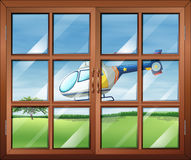 A closed window and the chopper outside vector illustration