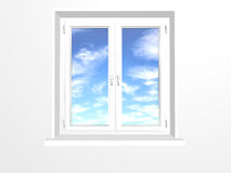 Closed window and clouds on blue sky Royalty Free Stock Photography