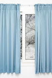 Closed window with curtains rainy autumn weather Royalty Free Stock Photography