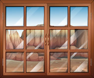 A closed window at the desert Stock Images