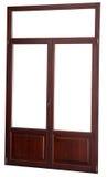 Closed window double glazed, dark mahogany color, isolated on wh Stock Photos
