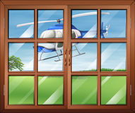 A closed window with a helicopter outside royalty free illustration