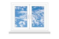 Closed window with a kind on blue sky on a white background Stock Image