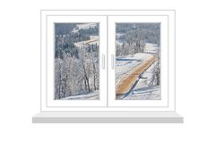 Closed window with a kind on winter landscape Royalty Free Stock Photography