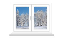 Closed window with a kind on winter landscape Stock Photos