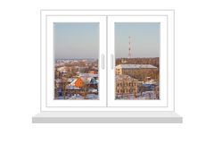 Closed window with a kind on winter landscape Stock Photography