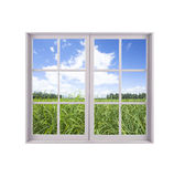 Closed window with landscape Royalty Free Stock Photography