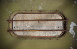Closed window in a military bunker Royalty Free Stock Photos